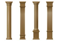 Set of  classic wood columns. Set vintage classic wood carved architectural columns with ornament for interior or facade. Joinery elements or balusters. Vector Royalty Free Stock Images