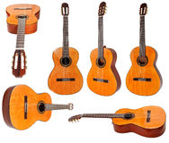 Set of classical acoustic guitars isolated Royalty Free Stock Photo