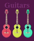 Set of a classical acoustic guitars.  silhouette classic guitars. Musical string instruments. Vector illustration in flat Stock Photo