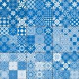 Set of classical blue ceramic tiles royalty free illustration
