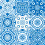 Set of classical blue ceramic tiles Stock Images