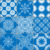 Set of classical blue ceramic tiles Stock Photography