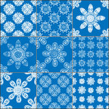 Set of classical blue ceramic tiles Royalty Free Stock Photography
