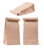 Set of classical brown paper bag in three different foreshorteni Stock Photo