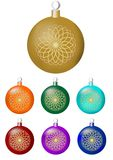 Set of classical christmas balls with fine circle gold decor. Isolated design element in different colors - gold, orange, blue, re. D, purple, green Royalty Free Stock Images
