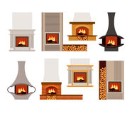 Set of classical and modern fireplaces. Vector set of classical and modern home fireplaces with fire. Flat design. Illustration isolated on white background Stock Image
