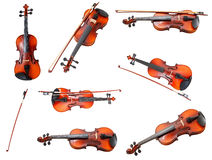 Set of classical modern violins and french bows Stock Photography