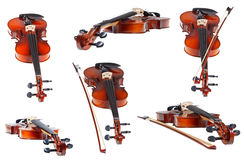 Set of classical modern violins isolated Royalty Free Stock Image