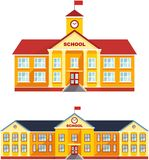 Set of classical school building isolated on white background. Vector illustration. Detailed illustration different variants of classical school building in a Stock Photography