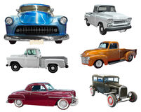 Set of classical vintage  automobiles. Isolated over white Stock Images