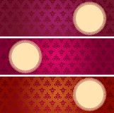 Set of classical wallpaper pattern horizontal banners Royalty Free Stock Images