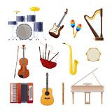 Set of classical wooden and metallic musical instruments. Set of classical musical instruments drums, acoustic and electronic guitars, violin, accordion Stock Photo