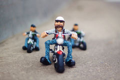 A set of clay. Figures bikers for rooms decoration stock image