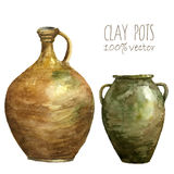 Set of clay pots painted with watercolors. Watercolor clay pots. Hand draw isolated illustrations on white background. Vector art Royalty Free Stock Photo