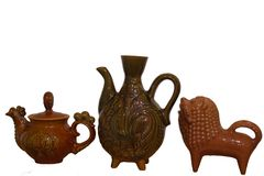 A set of clay teapots, before it was in vogue. royalty free stock photography