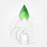 Set of clean dishes and green drop stock illustration