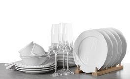 Set of clean dishes royalty free stock photo