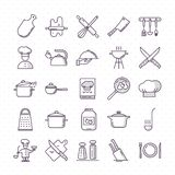 Set of clean icons featuring various kitchen utensils and cooking related objects. stock illustration
