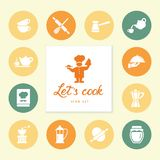 Set of clean line icons featuring various kitchen utensils and cooking related objects. royalty free illustration