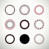 Set of clean round quality stamps. In black and red Royalty Free Stock Photos