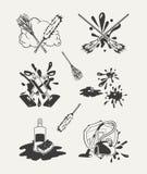 Set cleaning emblematy, odznaki, etykietki Zdjęcie Stock