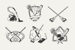 Set cleaning emblematy, odznaki, etykietki Fotografia Royalty Free