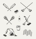 Set cleaning emblematy, odznaki, etykietki Zdjęcia Stock