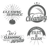 Set of cleaning emblems. Badges and icons. Force cup label. Vector illustration Royalty Free Stock Photography