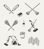Set of cleaning emblems, badges, labels Stock Photos