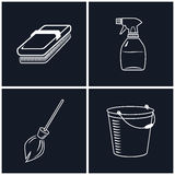 Set of Cleaning Icons Stock Photography