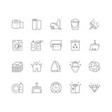 Set of 20 cleaning line icons. Contains icons such as a toilet, toilet paper, paper towels, a cleaner, laundry, iron, vacuum cleaner and much more. 64x64 pixel Stock Image