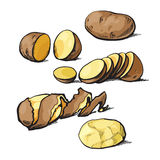 Set of cleaning potatoes and cut Royalty Free Stock Photos