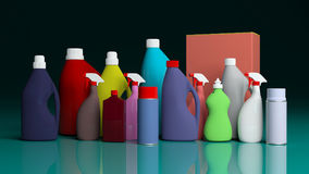 Set of cleaning products on green blue table. 3d illustration Stock Images