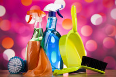 Set of cleaning products, home work colorful theme Royalty Free Stock Photo
