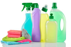 Set of cleaning products. House cleaners. Stock Images