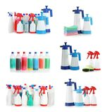 Set with cleaning products royalty free stock photography