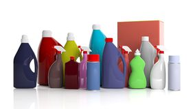 Set of cleaning products on white background. 3d illustration Stock Photo