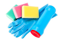 Set of cleaning, rubber glove, sponge, bottle Royalty Free Stock Photography
