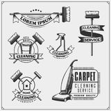 Set of cleaning service emblems, badges, labels and design elements. Vintage style. stock illustration