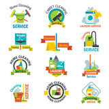 Set of cleaning service emblems labels design home household symbol work brush vector illustration. Royalty Free Stock Images