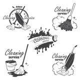 Set of cleaning service emblems, labels and. Designed elements Royalty Free Stock Photos