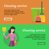 Set of Cleaning Service Flat Style Web Banners Stock Images