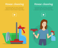Set of Cleaning Service Flat Style Web Banners Stock Image