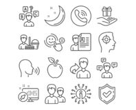 Cleaning service, Job interview and Human sing icons. Vector. Set of Cleaning service, Job interview and Human sing icons. Quiz test, Conversation messages and stock illustration