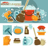 Set of cleaning service symbols. Royalty Free Stock Image