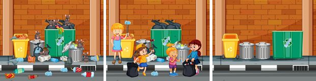 Set of cleaning a street scenes vector illustration