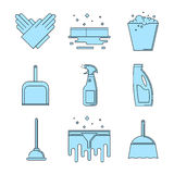 Set of cleaning supplies Royalty Free Stock Photos