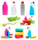Set of cleaning supplies photos Stock Photo
