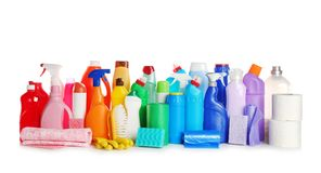 Cleaning supplies on white background. Set of cleaning supplies on white background royalty free stock photos