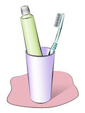 Set for cleaning a teeth. A tooth-brush, a tube with a tooth-paste and a glass Royalty Free Illustration
